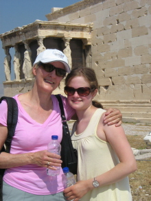 Susan Farewell and Justine Seligson in Athens, Greece