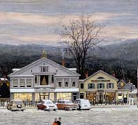 "A Stockbridge Mainstreet at Christmas (Home for Christmas), Norman Rockwell Oil on canvas."" McCalls, December 1967 ©1967 Licensed by Norman Rockwell Licensing, Niles, IL From the permanent collection of Norman Rockwell Museum"