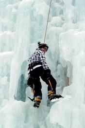 teen on 60 foot ice-climbing tower